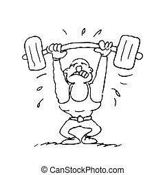 divertente, cartone animato, sollevamento peso