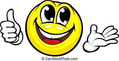divertente, cartone animato, sorriso
