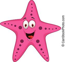 divertente, cartone animato, starfish