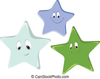 divertente, cartone animato, stelle