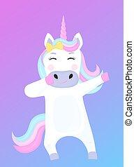 divertente, cartone animato, vettore, dabbing, illustrazione, unicorno, character.