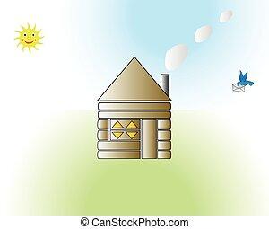 divertente, casa, cartone animato, vettore, illustrazione