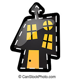 divertente, casa, con, ardendo, windows, con, contorni, in, il, forma, di, colpi, e, punteggiato, linee, isolato, bianco, fondo., idea, per, uno, adesivo, o, sew-on, pezze, in, stile, di, halloween., vettore, cartone animato, primo piano