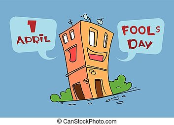 divertente, casa, costruzione, cartone animato, carattere, sciocco, giorno, aprile, vacanza, cartolina auguri