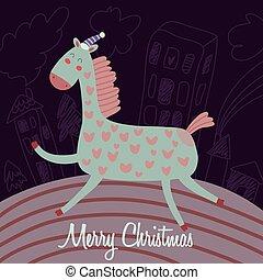 divertente, cavallo, cartone animato, vettore, anno, nuovo, scheda natale