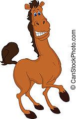 divertente, cavallo, cartone animato