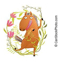 divertente, cavallo, fiori, cartone animato