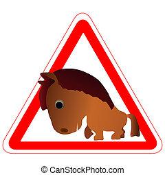 divertente, cavallo, simbolo di avvertenza