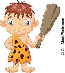 divertente, caveman, cartone animato