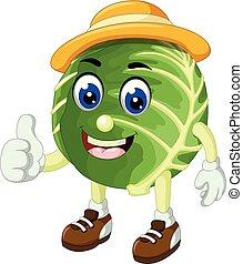 divertente, cavolo, verde, cartone animato