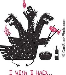 divertente, cibo mangia, affamato, drago, disegno, stampa, disegnato, bere, mano, ruvido