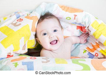 divertente, colorito, coperta, peek-a-boo, sotto, bambino,...