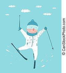 divertente, colorito, sciatore, compiendo, salto, prodezza,...