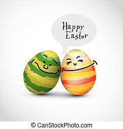 divertente, colorito, uova pasqua, con, uno, bolla discorso