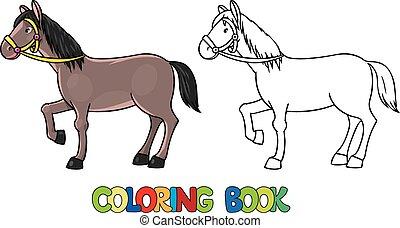 divertente, coloritura, horse., libro