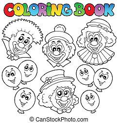 divertente, coloritura, pagliacci, libro