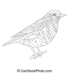divertente, coloritura, seduta, tuo, ramo, uccello, pagina