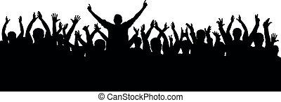 divertente, concerto, applauso, folla, persone, ventilatori, isolato, applauso, silhouette., allegro, vettore, sport, festa.