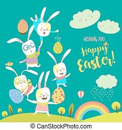 divertente, coniglietti, festeggiare, pasqua