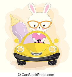divertente, coniglio, bambino, automobile., bottiglia, andare, latte