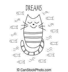 divertente, contorno, fish., gatto, vettore, fare un sogno
