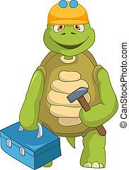 divertente, contractor., turtle.