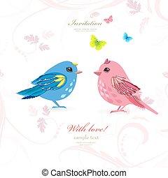 divertente, coppia, uccelli, con, farfalle, per, tuo, disegno