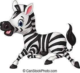 divertente, correndo, isolare, cartone animato, zebra