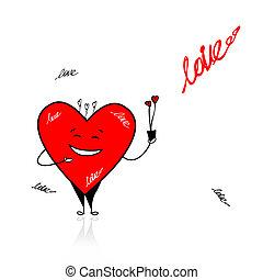 divertente, cuore, mazzolino, valentina, day., disegno, tuo