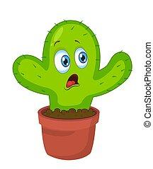 divertente, cute., character., illustrazione, vettore, cactus, cartone animato