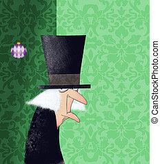 divertente, damasco, verde, scrooge, fondo, disegno...
