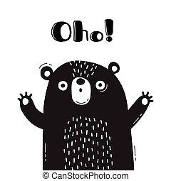 divertente, dice, carino, oho., -, orso, disegno, illustrazione, manifesti, animal., avatars, schede.