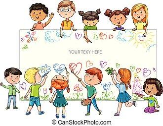 divertente, differente, bambini, pubblicità, nazionalità, cartone animato, presa, bandiera, tuo, vuoto