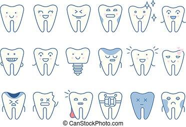 divertente, differente, caratteri, set, denti, emozioni, vettore, trattamento, fondo, odontoiatria, illustrazioni, bianco