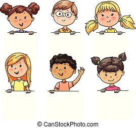divertente, differente, ritratti, nazionalità, presa, bandiera, bambini