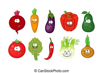 divertente, differente, set, vegetables., automobile, cartone animato, sorridente, barbabietola rossa