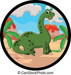 divertente, dinosauro, cartone animato