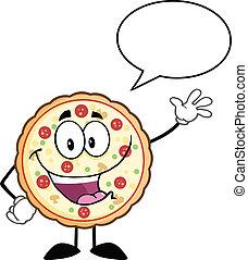 divertente, discorso, pizza, bolla