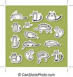 divertente, disegno, gatti, adesivi, tuo