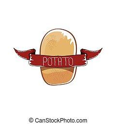 divertente, disegno, vettore, marrone, patata, menu, isolato, etichetta, fondo., bandiere, carino, sagoma, adesivi, manifesti, cartone animato, icona