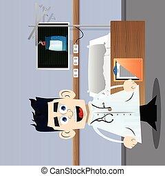 divertente, dottore, cartone animato, standing.
