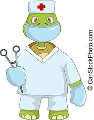 divertente, dottore., turtle.