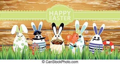 divertente, easter., rabbit-eggs, facce, carino