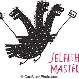 divertente, egoista, foto, presa, drago, disegno, bastone, stampa, disegnato, ruvido, mano, selfie