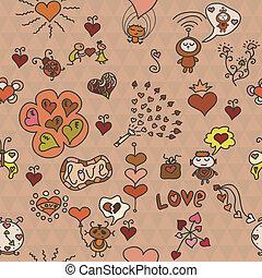divertente, elementi, romantico, modello, seamless, lotto