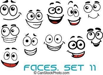 divertente, felice, cartone animato, caratteri, facce
