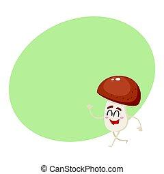 divertente, felice, fungo porcini, carattere, con, sorridente, faccia umana, camminare