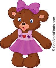 divertente, femmina, orso, cartone animato