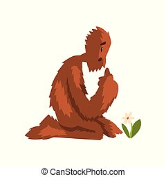 divertente, fiore, mitico, seduta, ginocchia, carattere, illustrazione, cartone animato, dall'aspetto, vettore, fondo, bianco, relativo, bigfoot, creatura