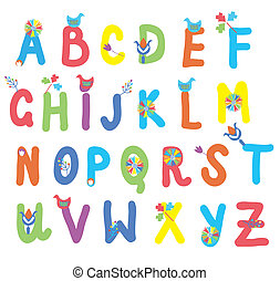 divertente, fiori, bambini, uccelli, alfabeto